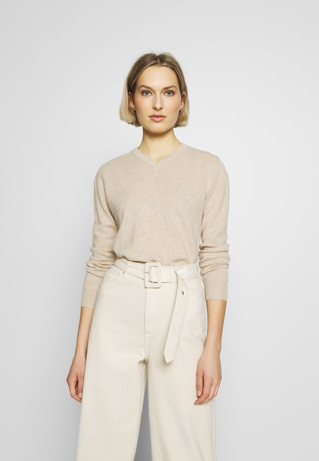 V NECK - Jumper - oatmeal
