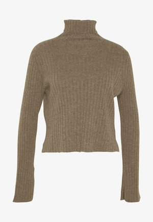 TURTLENECK SWEATER - Pullover - heathered  brown