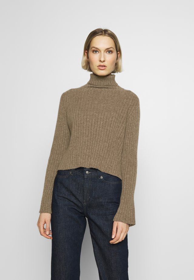 TURTLENECK - Jumper - heathered  brown