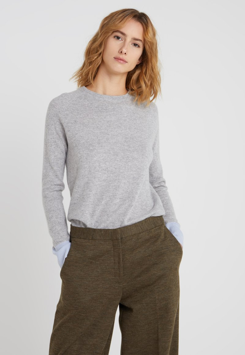pure cashmere - CLASSIC CREW NECK - Jumper - light grey/baby blue