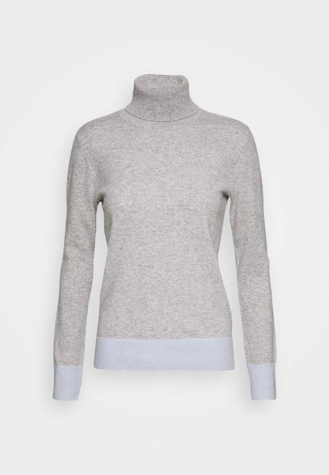 TURTLENECK COLOR BLOCK - Strikpullover /Striktrøjer - light grey/baby blue