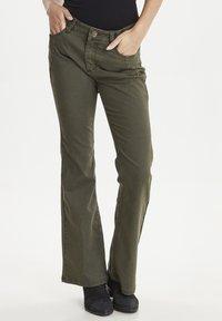 PULZ - PZRITA  - Flared Jeans - brown - 0