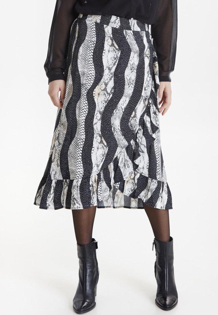 PULZ - PZSNAKE - A-line skirt - black