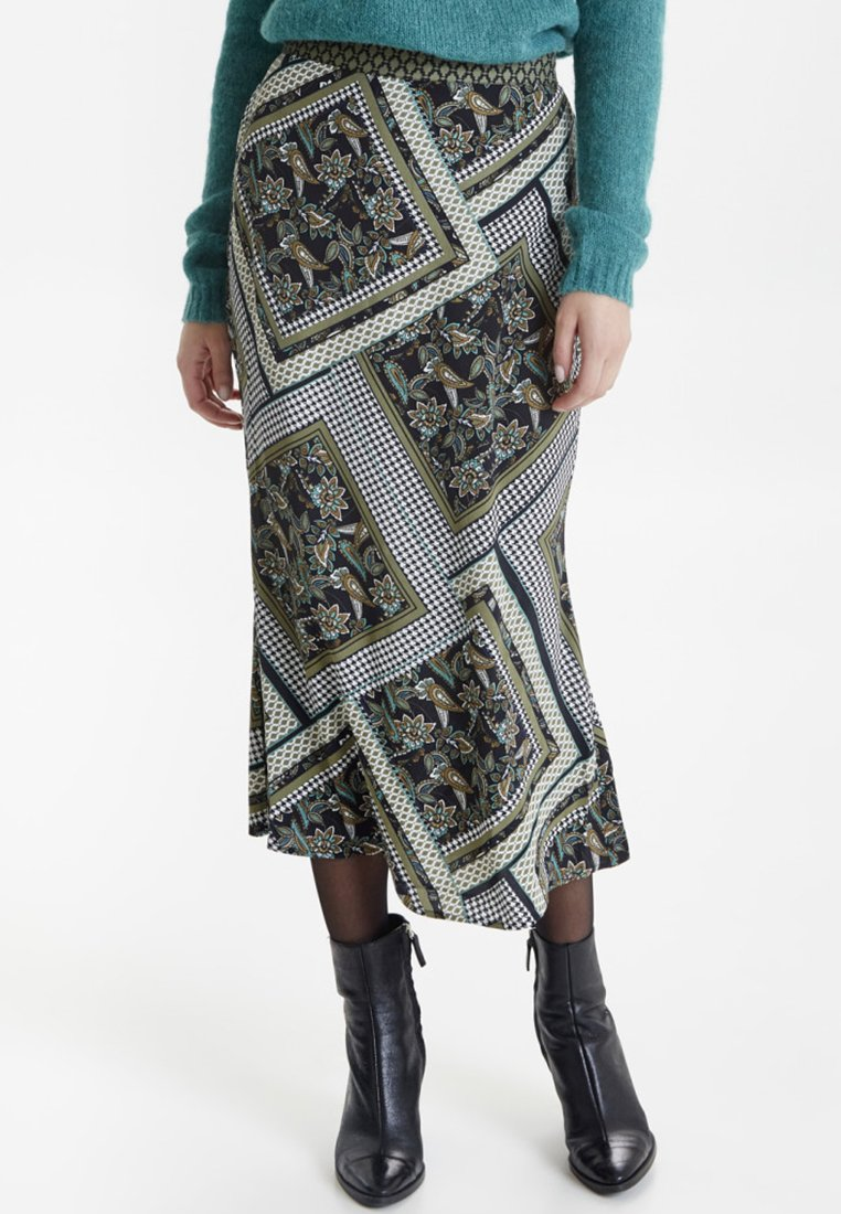 PULZ - PZLEMON - Maxi skirt - crocodile green