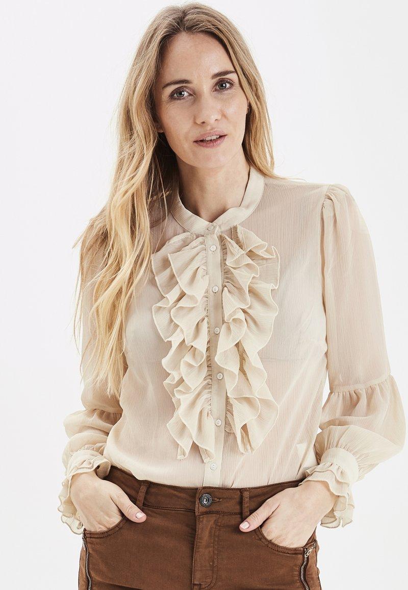 PULZ - PXSTARBLUE SHIRT - Button-down blouse - brazilian sand