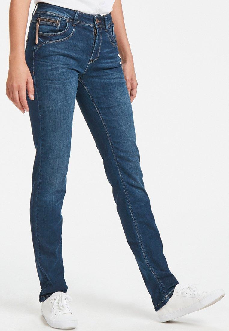 PULZ - KAROLINA HIGHWAIST - Jeans Straight Leg - medium blue