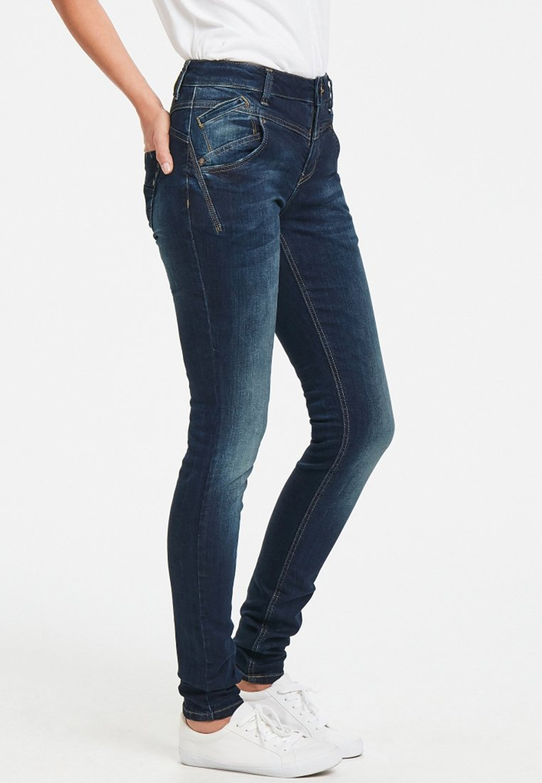 PULZ - CARMEN HIGHWAIST - Jeans Skinny Fit - medium blue denim