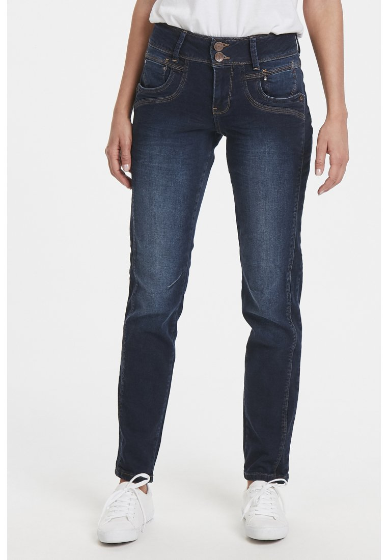 PULZ - STACIA - Slim fit jeans - raw blue denim