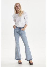 PULZ - PZEMMA  - Flared Jeans - light blue denim - 1