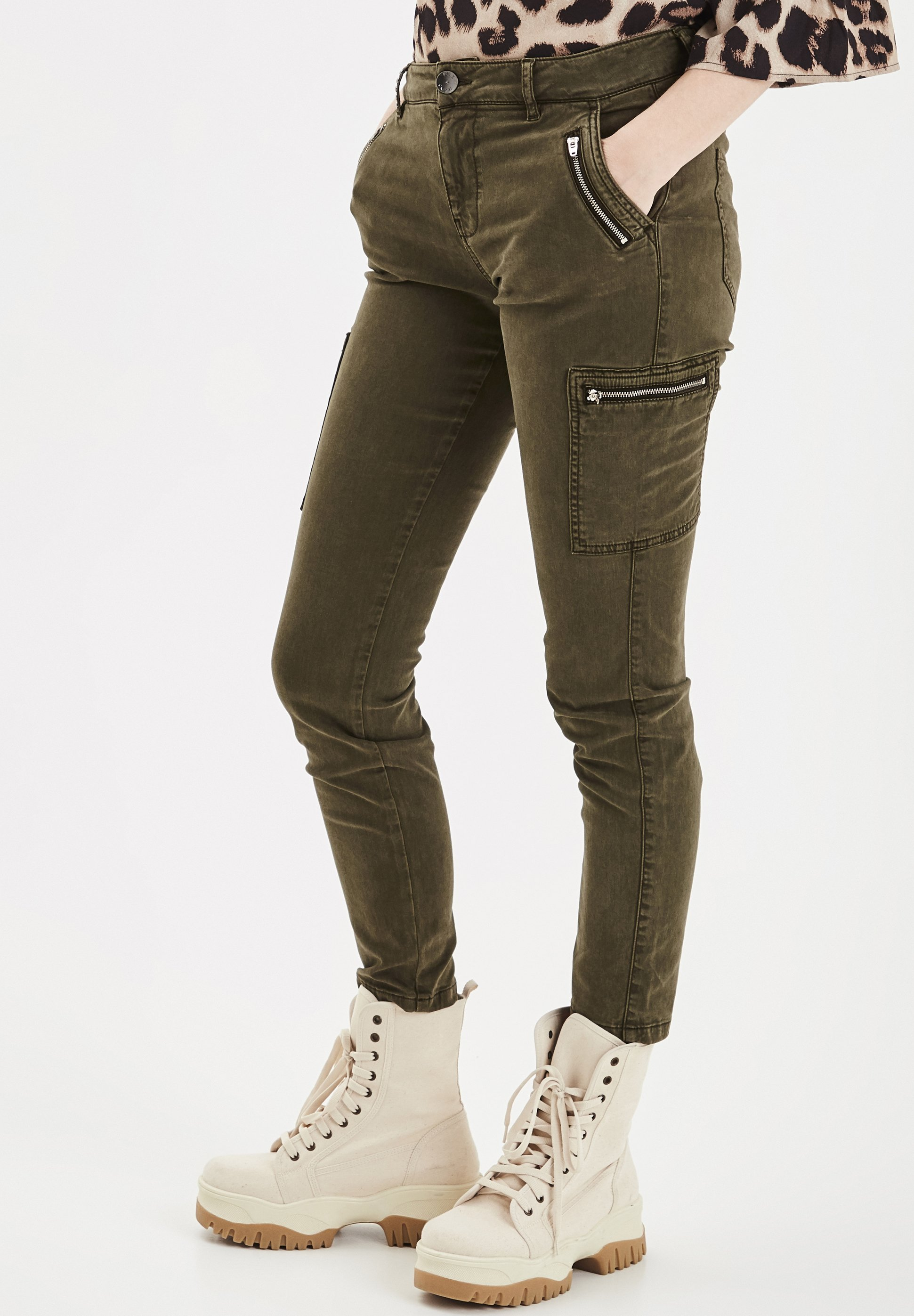 PULZ PXELVA  - Jeansy Skinny Fit - ivy green