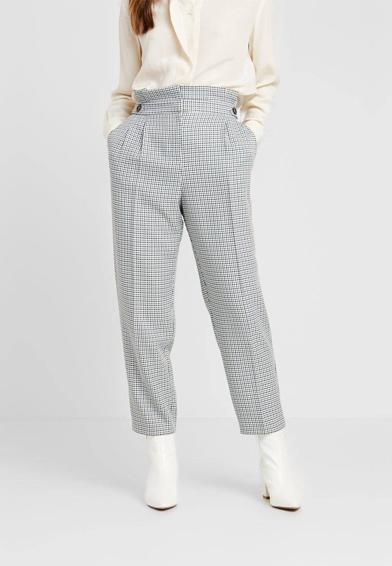 Miss Selfridge Petite - CHECK PAPERBAG TROUSER - Trousers - blue