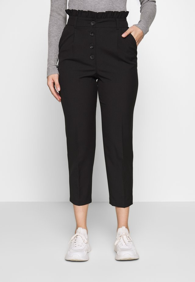 BUTTON FRILL TOP PAPERBAG - Trousers - black
