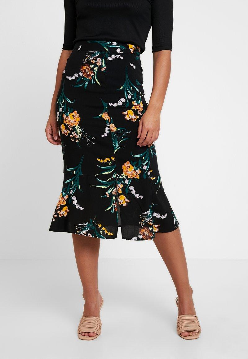 Miss Selfridge Petite - CLEMMIE FLORAL SKIRT - Áčková sukně - black