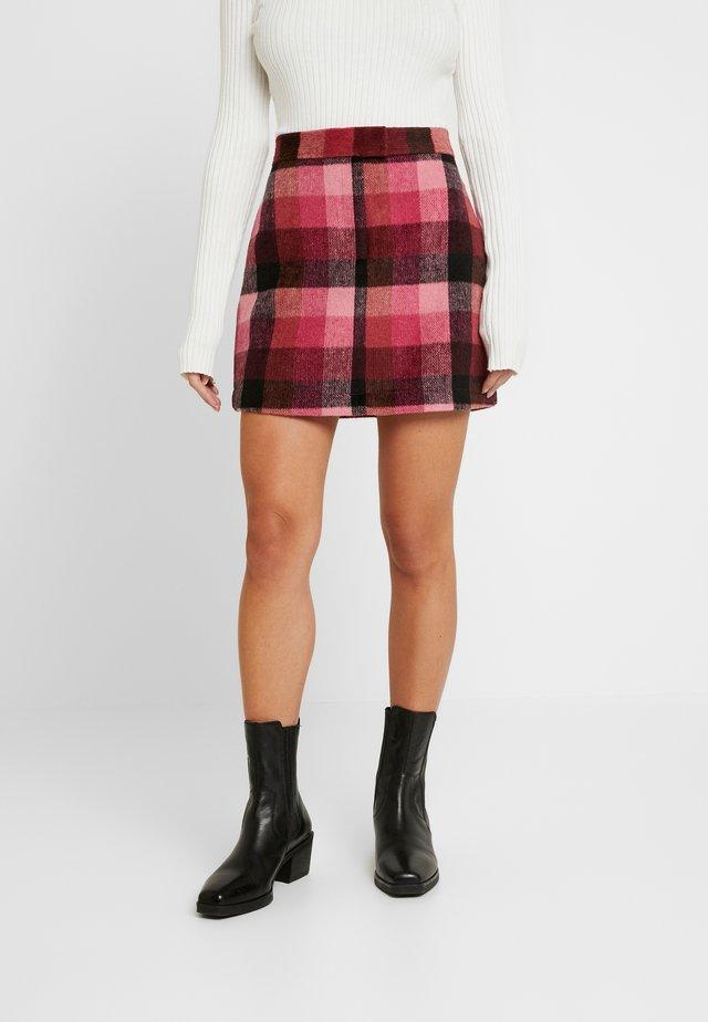 CHECK SKIRT - A-line skirt - pink