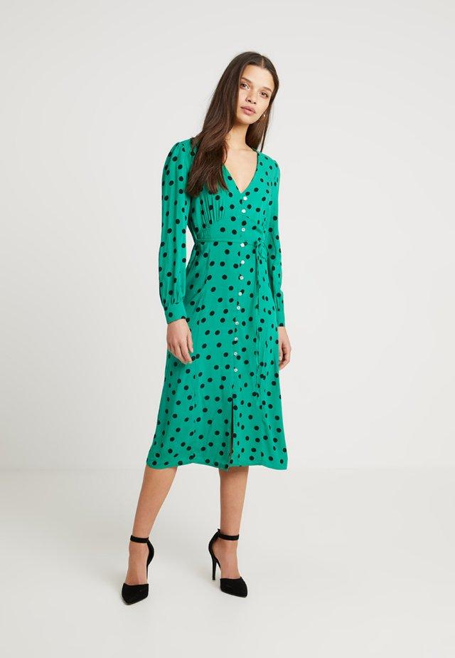 SPOT BUTTON MIDI DRESS - Shirt dress - green