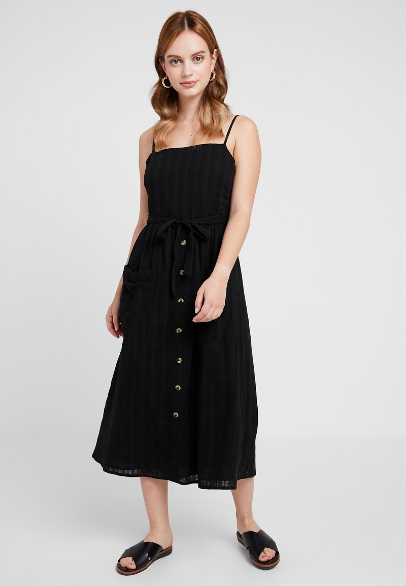 Miss Selfridge Petite - STRAPPY BUTTON SUNDRESS - Długa sukienka - black
