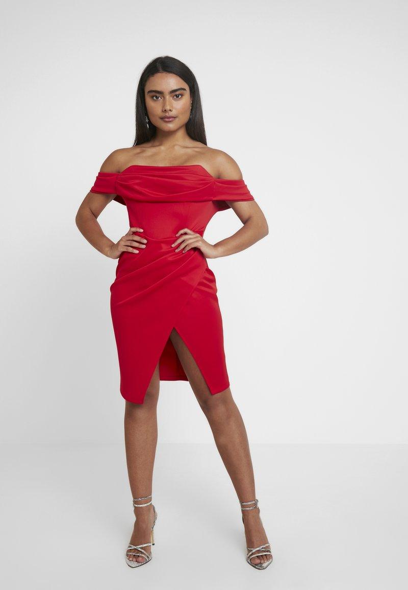 Miss Selfridge Petite - SQUARE NECK DRESS - Cocktail dress / Party dress - red