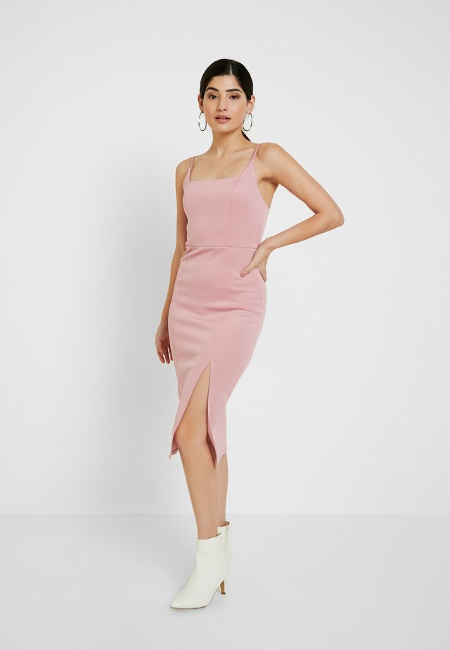 SQUARE NECK MIDI - Shift dress - pink