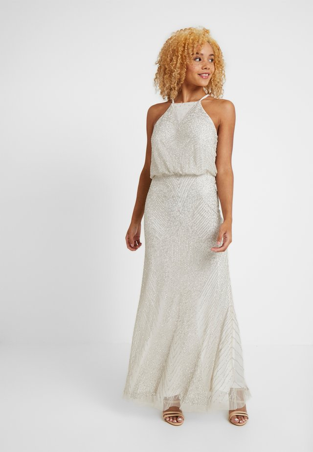 BEADED HALTER MAXI DRESS - Vestito elegante - silver