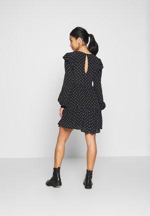 SHIRRED SPOT TEA DRESS - Day dress - black
