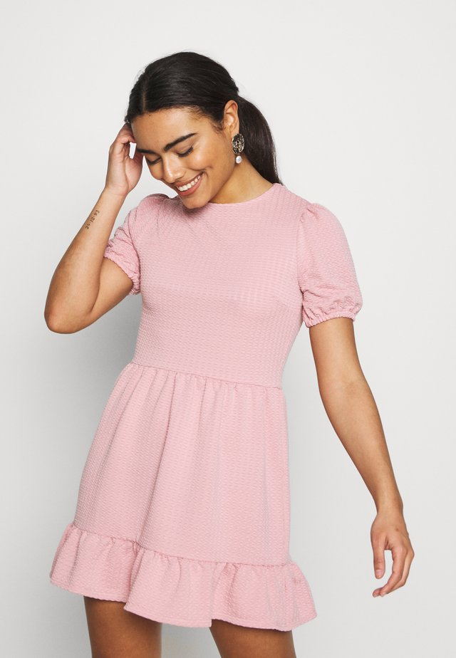 CRINKLE BALLOON SLEEVE DRESS - Sukienka z dżerseju - pink