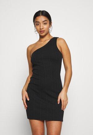 MINI ONE SHOULDER BANDAGE DRESS - Sukienka letnia - black