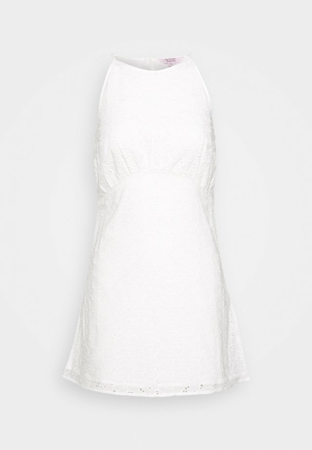 BRODERIE HALTER SWING DRESS - Day dress - white