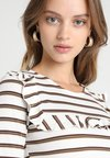 Miss Selfridge Petite - STRIPE FRILL - Long sleeved top - white