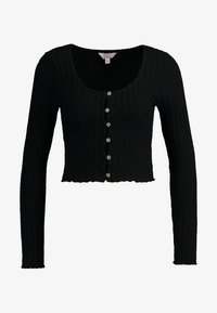 Miss Selfridge Petite - LONG SLEEVE BUTTON - Strickjacke - black - 4