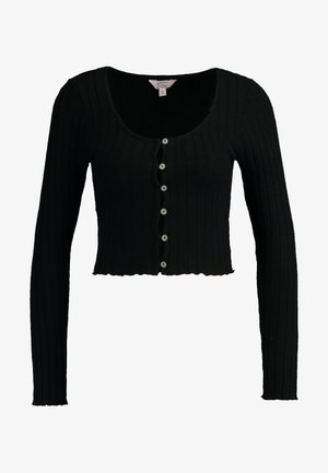 LONG SLEEVE BUTTON - Strickjacke - black