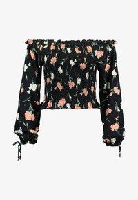 Miss Selfridge Petite - FRILL LSHIRRED BARDOT - Bluse - black - 3