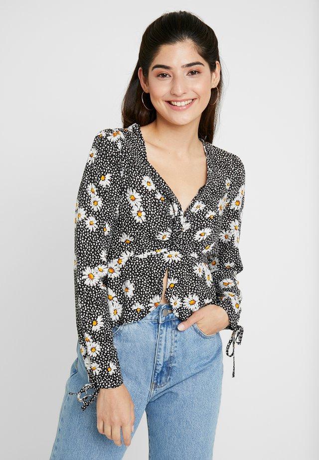 DAISY PRINT TWIST FRONT BLOUSE - Bluse - black print