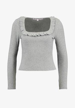 FRILL SQUARE NECK - T-shirt à manches longues - grey