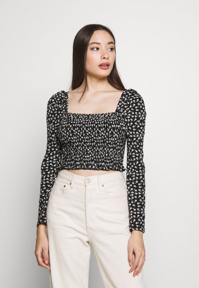 SHIRRED DITSY PRINTED - Long sleeved top - black