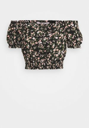 CAROLINE PRINT BARDOT - Blusa - black