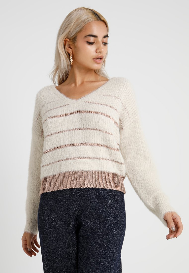 Miss Selfridge Petite - STRIPE JUMPER - Jersey de punto - cream