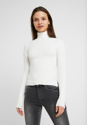 MIXED STRIPE FINE GAUGE ROLLNECK - Jumper - ivory