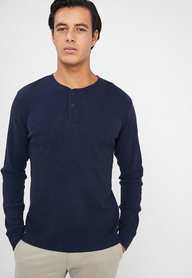 WAFFLE TEE - Topper langermet - navy blazer