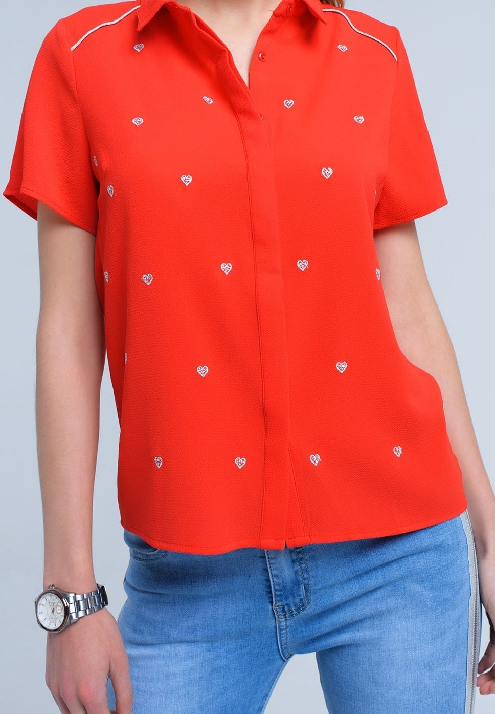 Q2 Button-down Blouse - Red