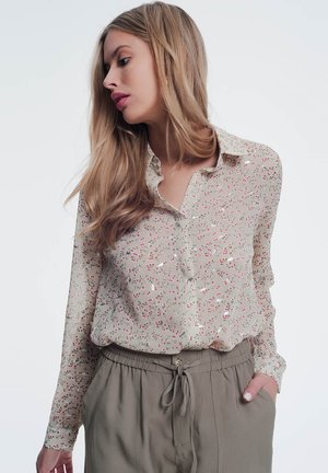 WITH FLORAL PRINT - Button-down blouse - beige