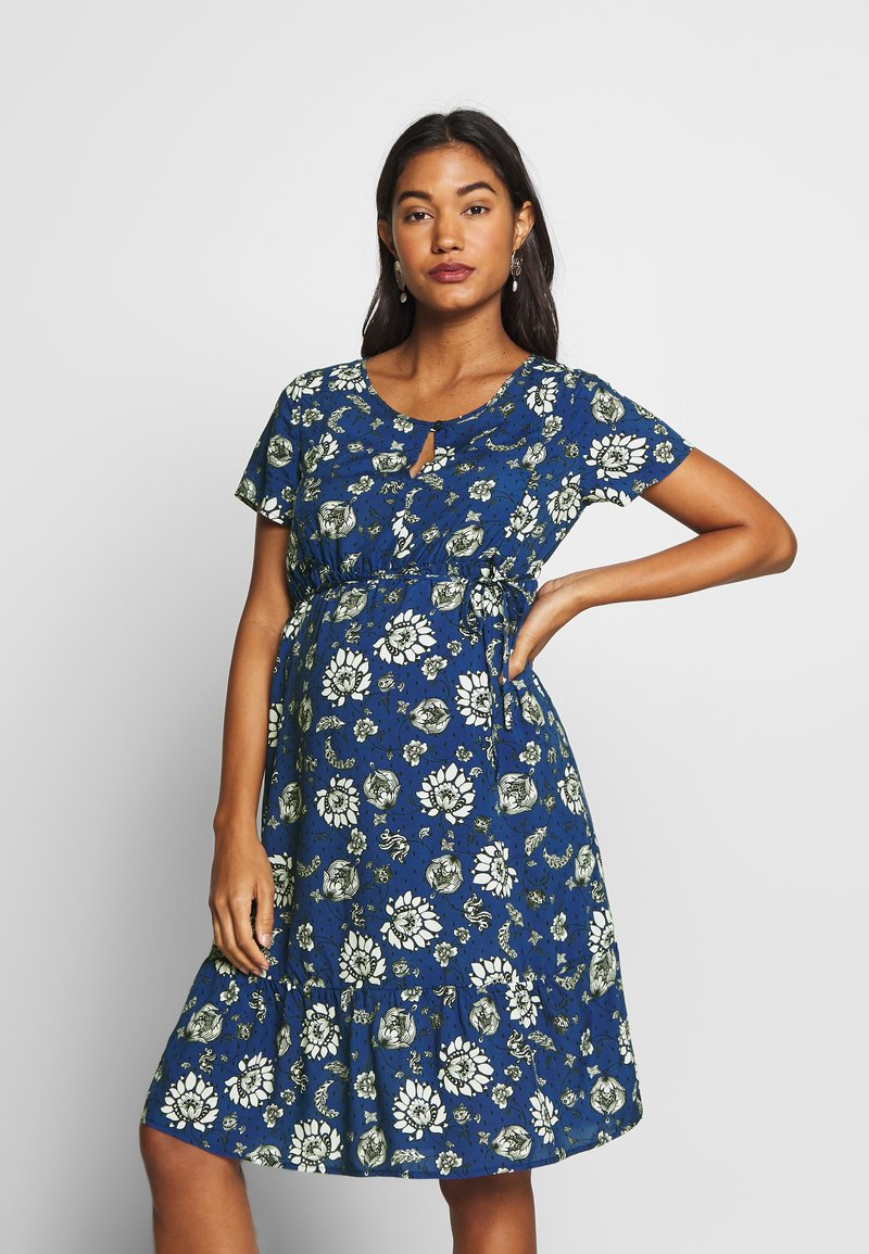 Queen Mum - DRESS WOVEN NURS BEIGING - Robe d'été - sodalite blue