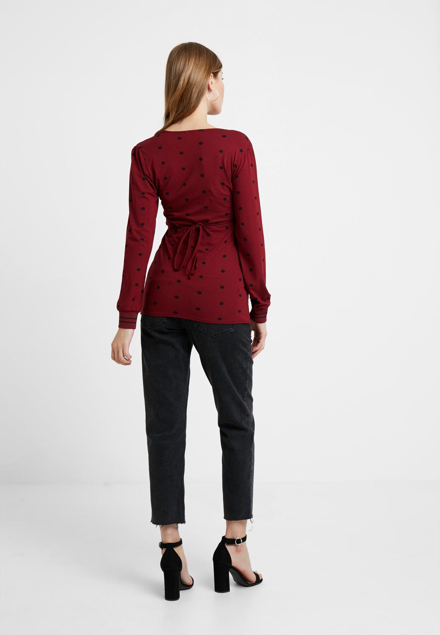 Mum Longues shirt Cabernet NursingT Queen À Manches Nwymn8v0OP