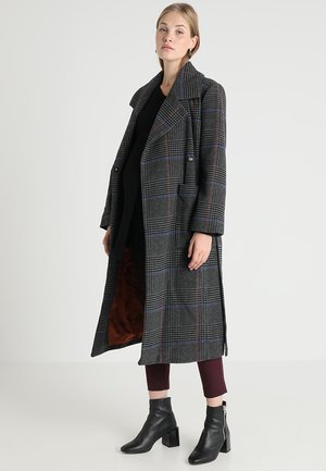 CHECK COAT WITH LAPEL COLLAR BELT - Mantel - grey