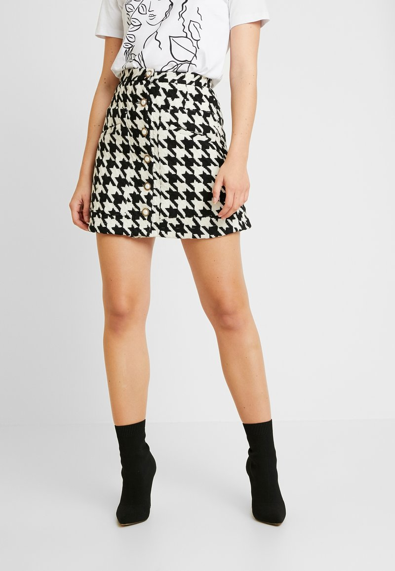 Sister Jane - DECIDER TWEED MINI SKIRT - Minifalda - black/white