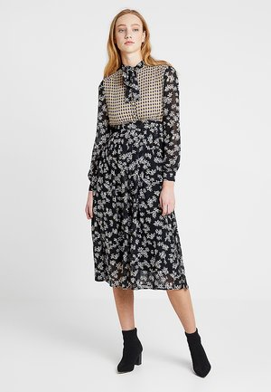 MIXED PRINT MIDI DRESS - Shirt dress - black