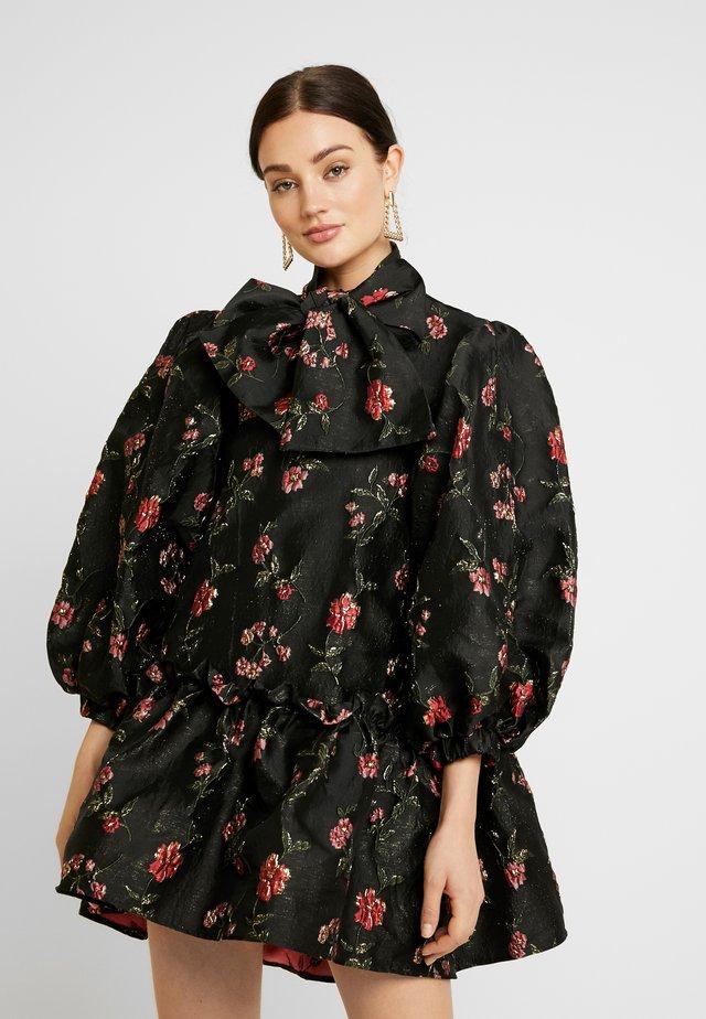 MOON FLOWER OVERSIZED MINI DRESS - Cocktailjurk - black