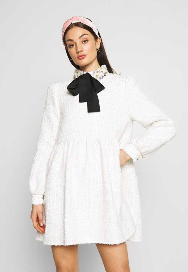 SNOWDROP TWEED SMOCK DRESS - Cocktailjurk - ivory