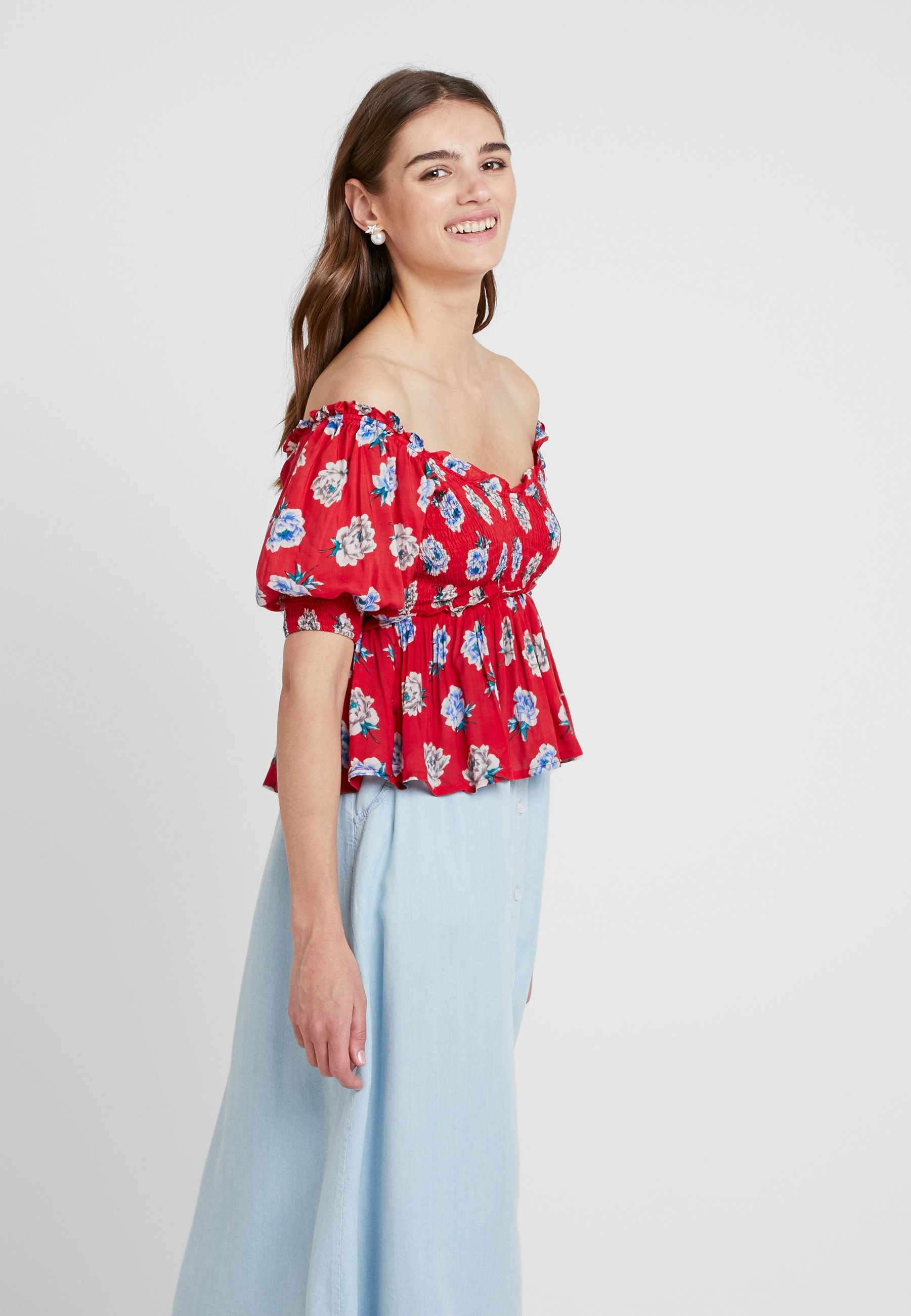 Blooming Jane ShirringBlouse Bess Sister Red odCxBreW