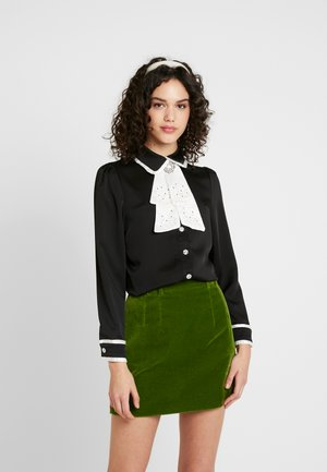 CLOSET CRAVAT RUFFLE - Button-down blouse - black