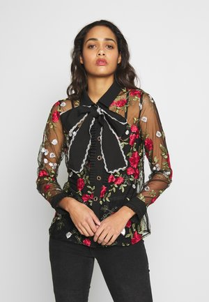 QUEENLY EMBROIDERED BLOUSE - Button-down blouse - black